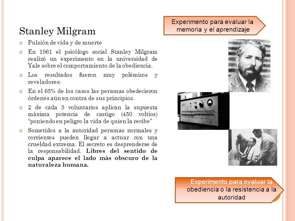 Stanley Milgram Experimento para evaluar la memoria y el aprendizaje