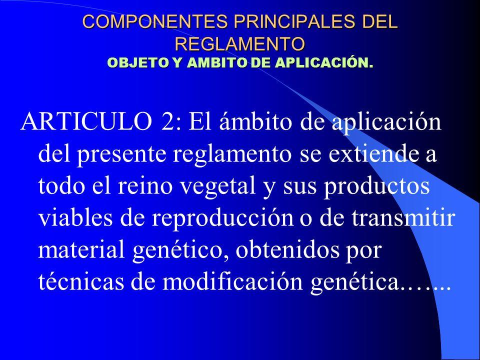 COMPONENTES PRINCIPALES DEL REGLAMENTO OBJETO Y AMBITO DE APLICACIÓN.