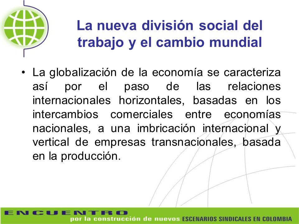 La nueva división social del trabajo y el cambio mundial