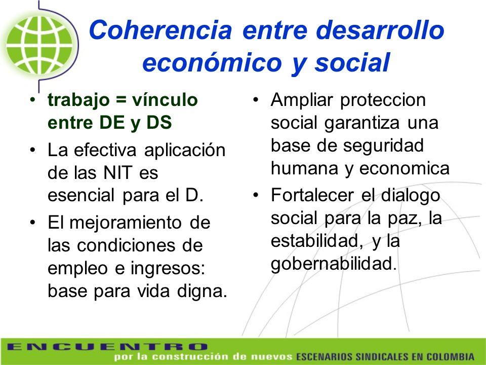 Coherencia entre desarrollo económico y social