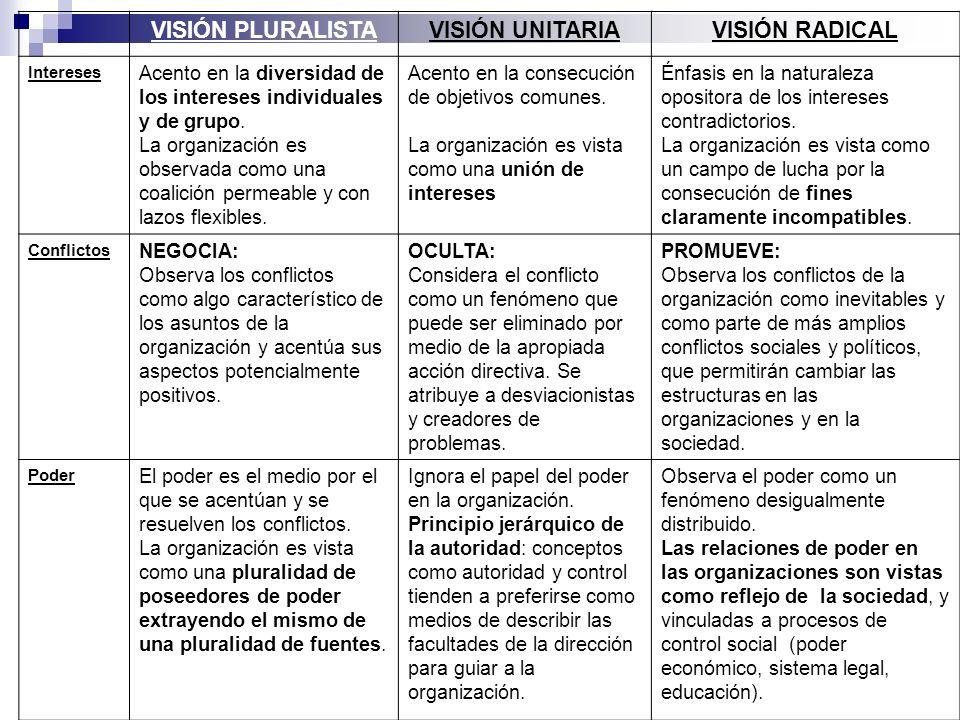 VISIÓN PLURALISTA VISIÓN UNITARIA VISIÓN RADICAL