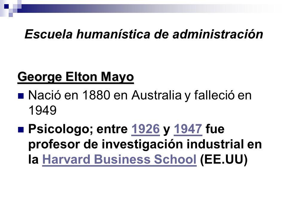 Escuela humanística de administración