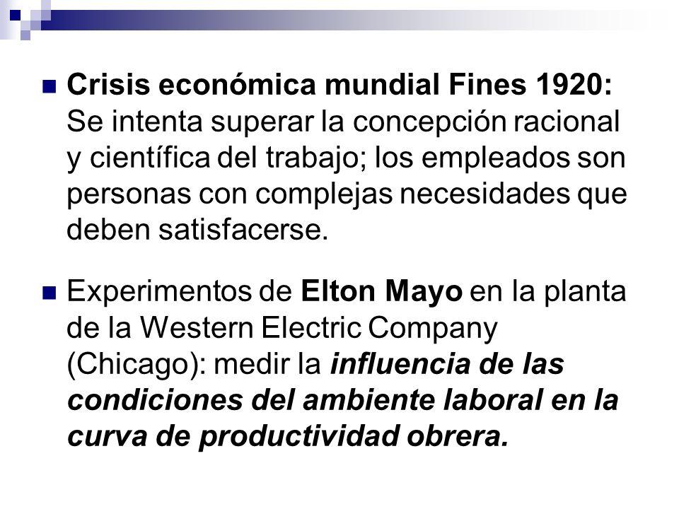 Crisis económica mundial Fines 1920: Se intenta superar la concepción racional y científica del trabajo; los empleados son personas con complejas necesidades que deben satisfacerse.