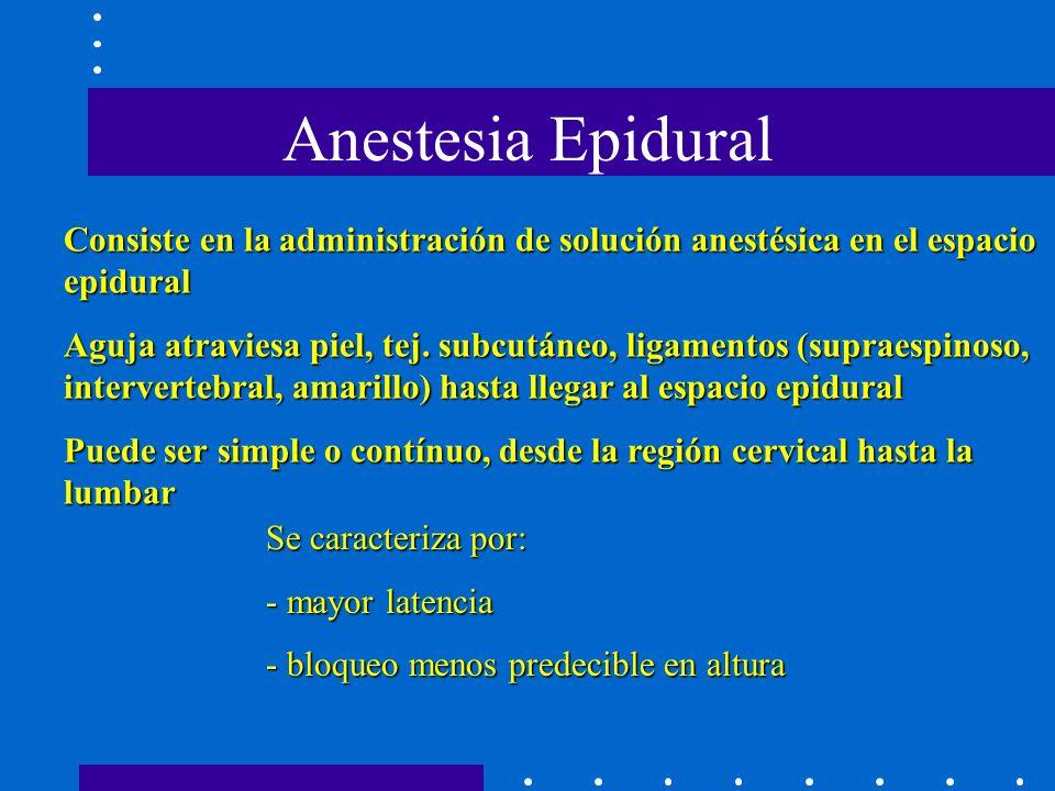 Anestesia Epidural Consiste en la administración de solución anestésica en el espacio epidural.