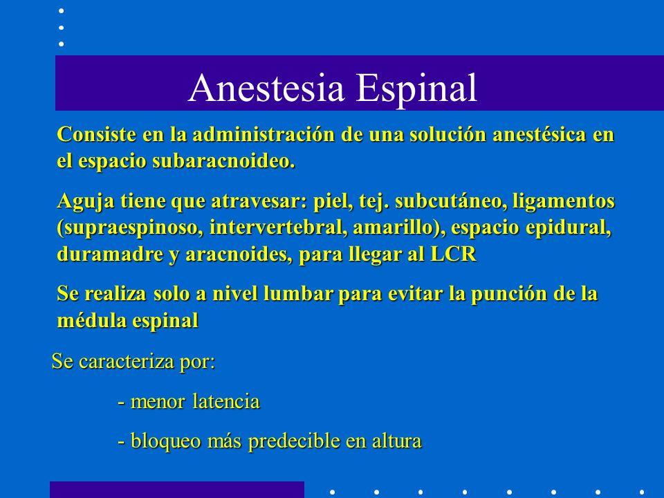 Anestesia Espinal Consiste en la administración de una solución anestésica en el espacio subaracnoideo.