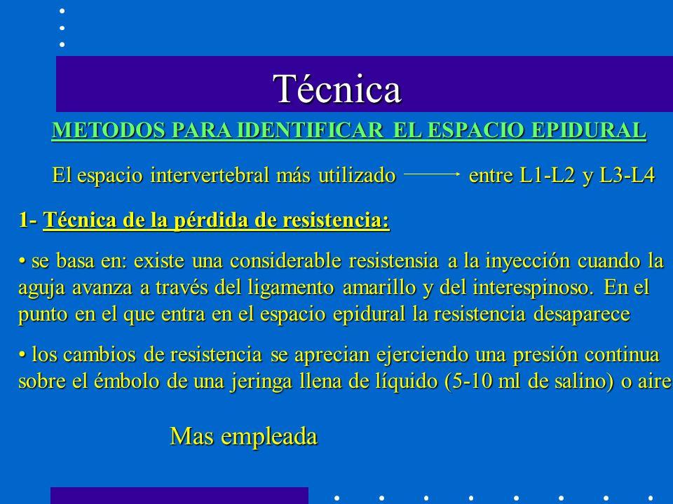 Técnica Mas empleada METODOS PARA IDENTIFICAR EL ESPACIO EPIDURAL
