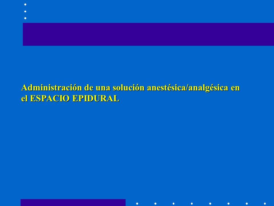 Administración de una solución anestésica/analgésica en el ESPACIO EPIDURAL