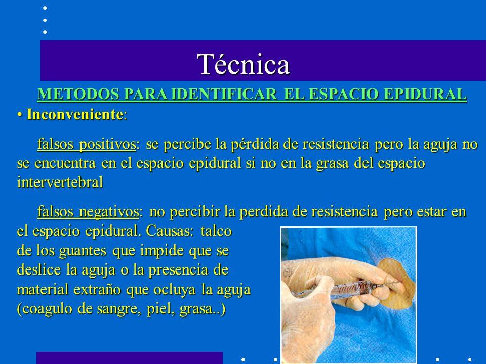 Técnica METODOS PARA IDENTIFICAR EL ESPACIO EPIDURAL Inconveniente: