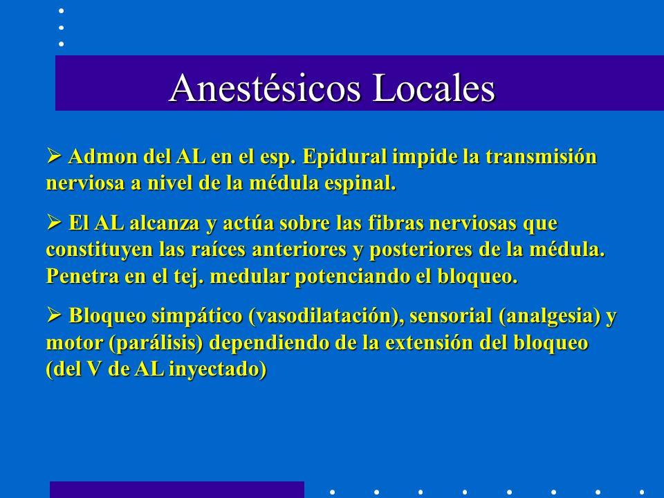 Anestésicos Locales  Admon del AL en el esp. Epidural impide la transmisión nerviosa a nivel de la médula espinal.