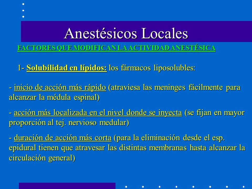 Anestésicos Locales FACTORES QUE MODIFICAN LA ACTIVIDAD ANESTÉSICA. 1- Solubilidad en lípidos: los fármacos liposolubles: