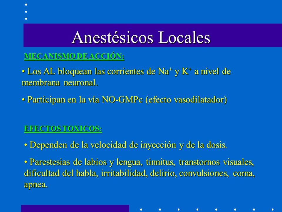 Anestésicos Locales MECANISMO DE ACCIÓN: Los AL bloquean las corrientes de Na+ y K+ a nivel de membrana neuronal.