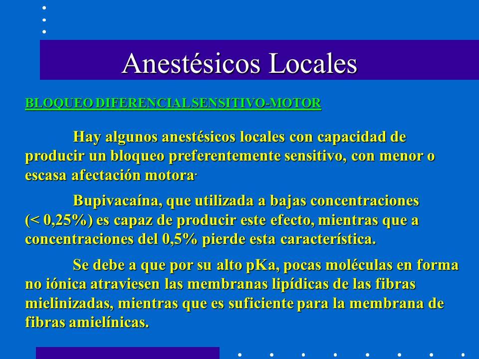 Anestésicos Locales BLOQUEO DIFERENCIAL SENSITIVO-MOTOR.