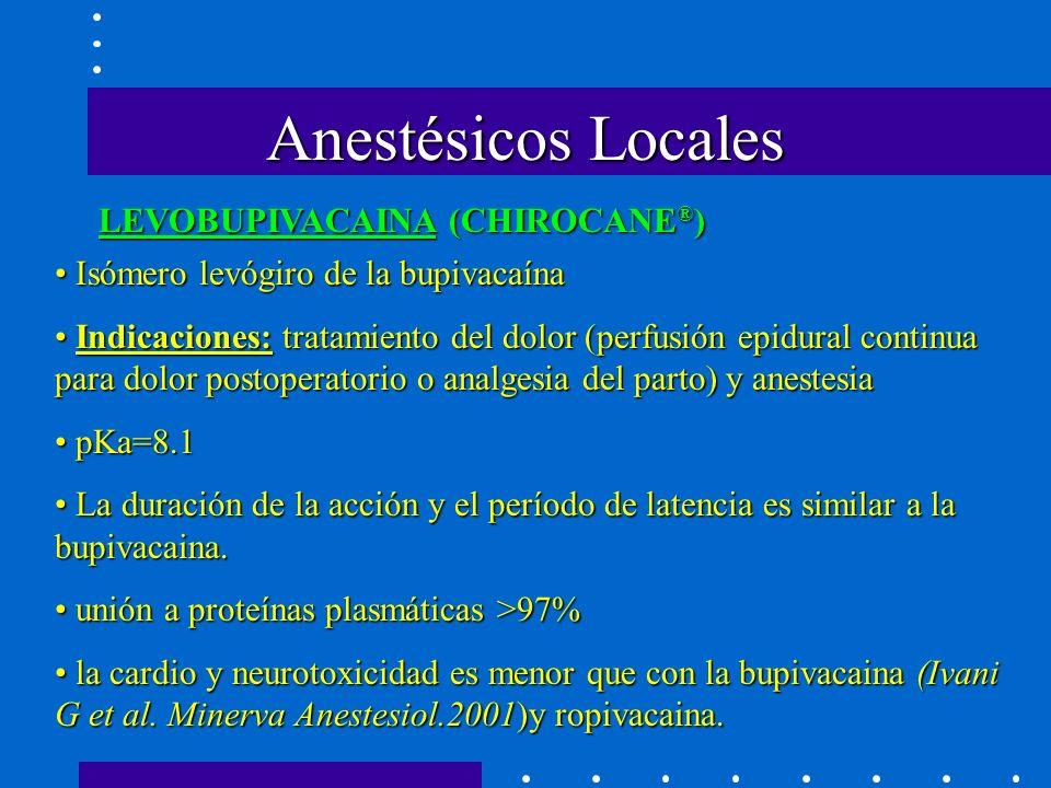Anestésicos Locales LEVOBUPIVACAINA (CHIROCANE®)