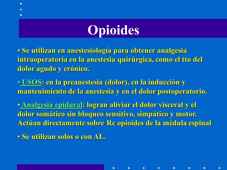 Opioides Se utilizan en anestesiología para obtener analgesia intraoperatoria en la anestesia quirúrgica, como el tto del dolor agudo y crónico.