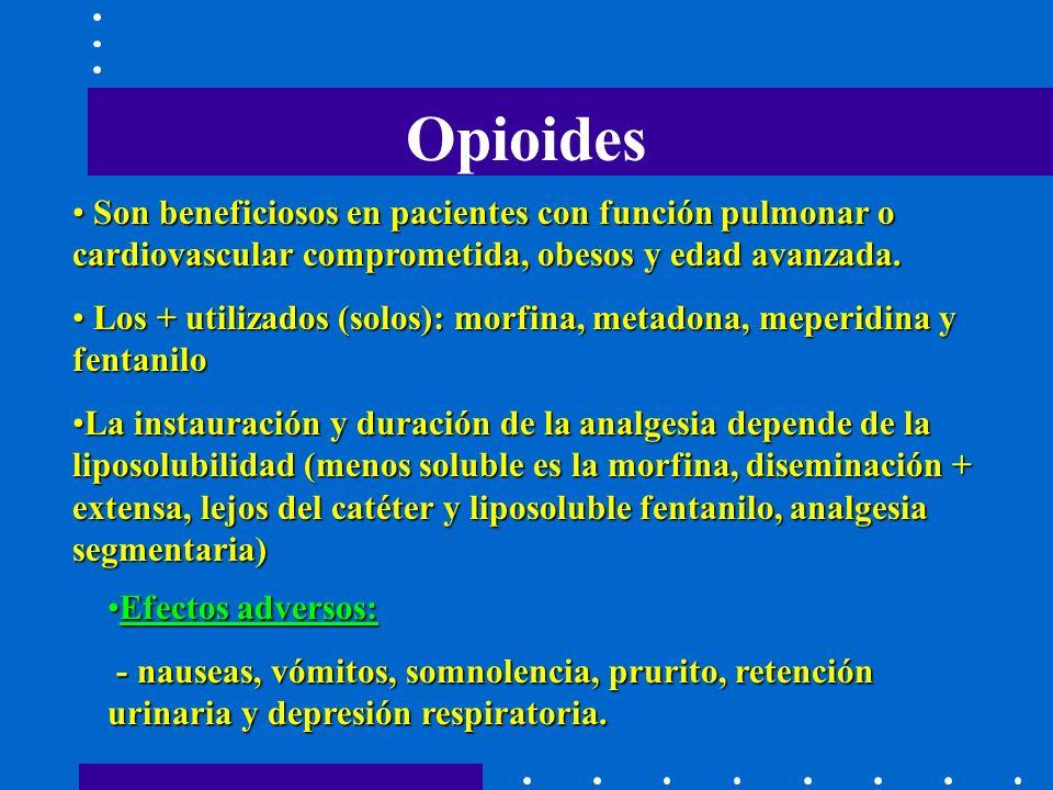 Opioides Son beneficiosos en pacientes con función pulmonar o cardiovascular comprometida, obesos y edad avanzada.