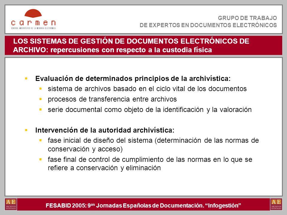 LOS SISTEMAS DE GESTIÓN DE DOCUMENTOS ELECTRÓNICOS DE ARCHIVO: repercusiones con respecto a la custodia física