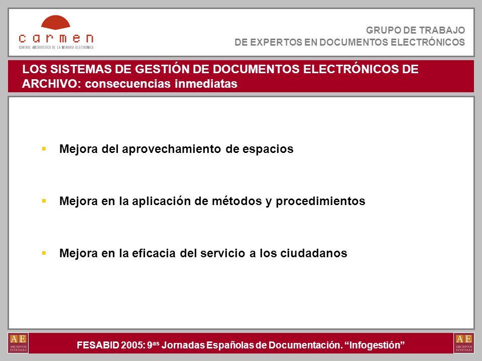 LOS SISTEMAS DE GESTIÓN DE DOCUMENTOS ELECTRÓNICOS DE ARCHIVO: consecuencias inmediatas