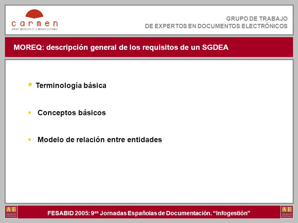 MOREQ: descripción general de los requisitos de un SGDEA