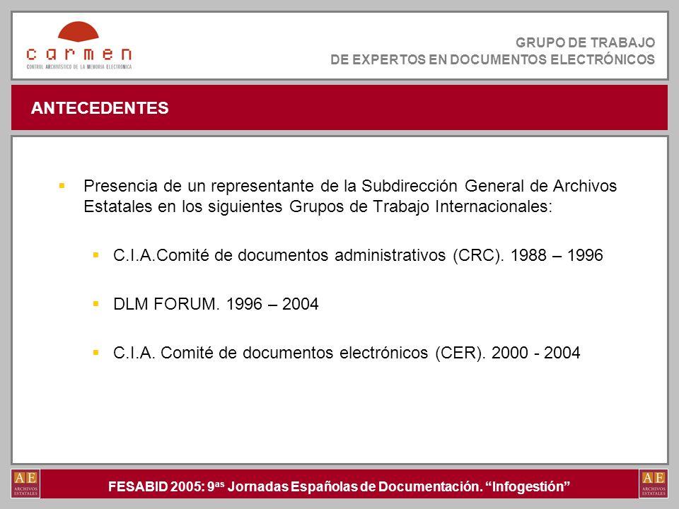 ANTECEDENTES Presencia de un representante de la Subdirección General de Archivos Estatales en los siguientes Grupos de Trabajo Internacionales: