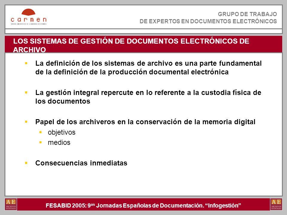 LOS SISTEMAS DE GESTIÓN DE DOCUMENTOS ELECTRÓNICOS DE ARCHIVO
