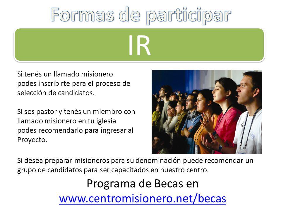 Programa de Becas en www.centromisionero.net/becas