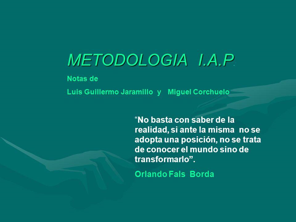METODOLOGIA I.A.P. Notas de. Luis Guillermo Jaramillo y Miguel Corchuelo.