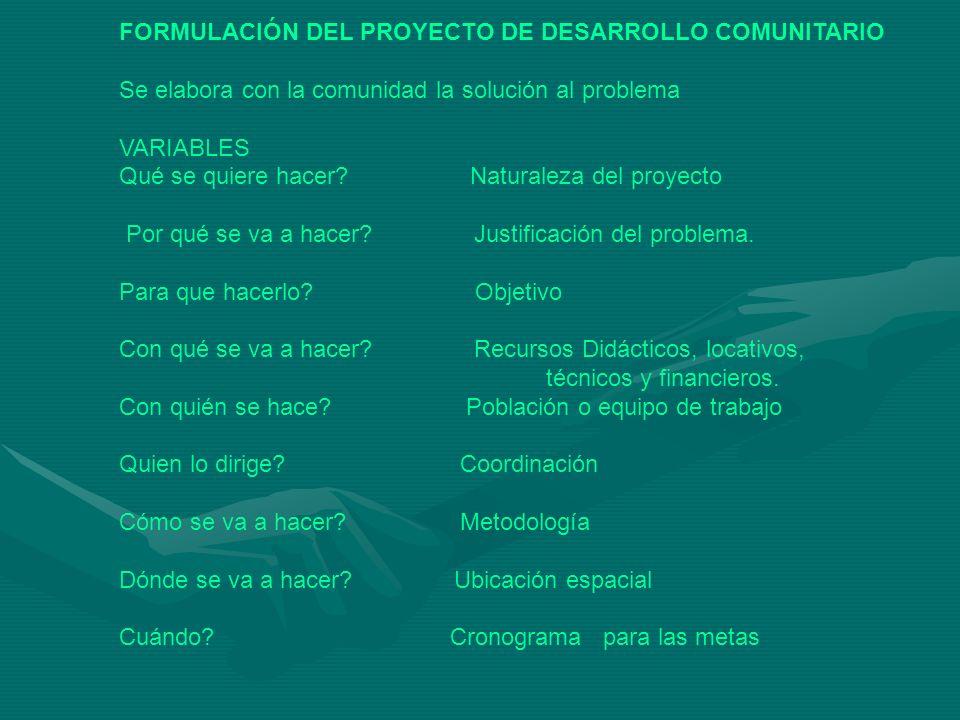 FORMULACIÓN DEL PROYECTO DE DESARROLLO COMUNITARIO