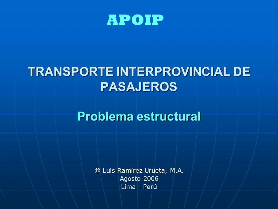 TRANSPORTE INTERPROVINCIAL DE PASAJEROS Problema estructural