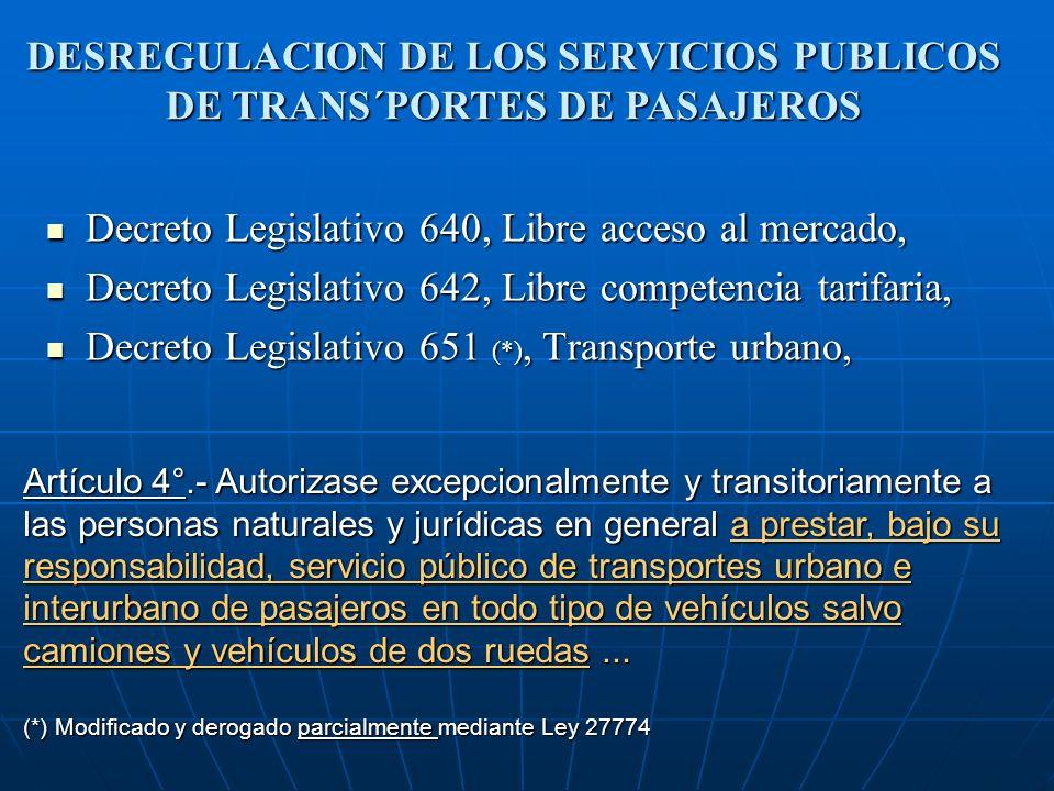 DESREGULACION DE LOS SERVICIOS PUBLICOS DE TRANS´PORTES DE PASAJEROS
