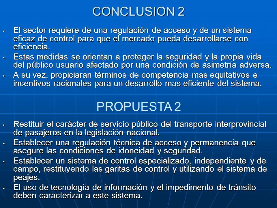 CONCLUSION 2 El sector requiere de una regulación de acceso y de un sistema eficaz de control para que el mercado pueda desarrollarse con eficiencia.