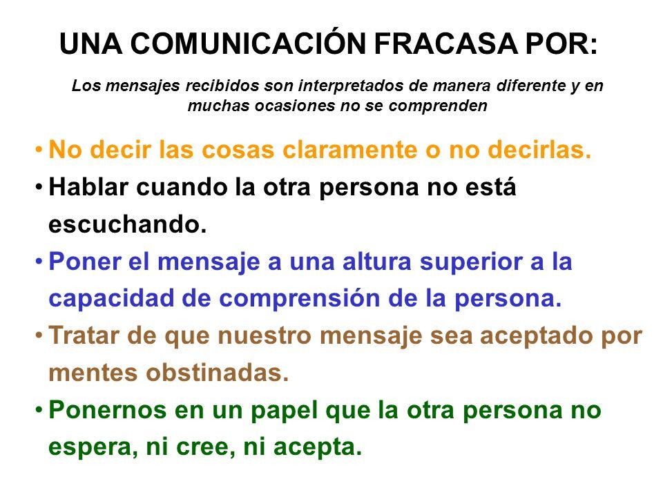 UNA COMUNICACIÓN FRACASA POR: