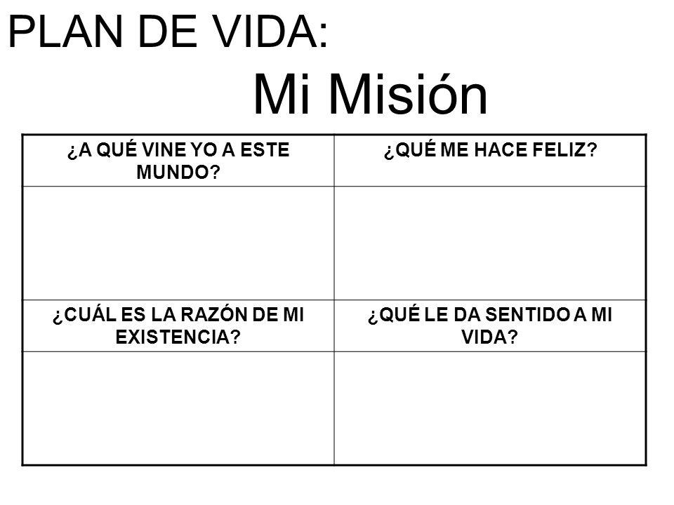 Mi Misión PLAN DE VIDA: ¿A QUÉ VINE YO A ESTE MUNDO