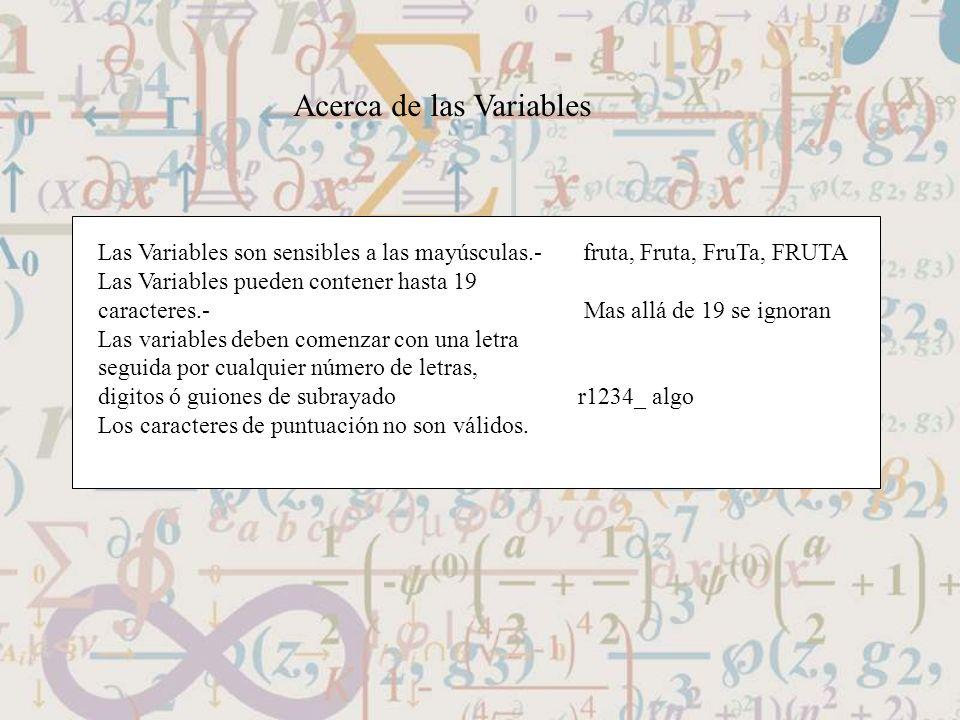 Acerca de las Variables