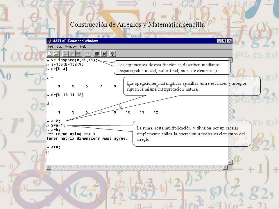 Construcción de Arreglos y Matemática sencilla
