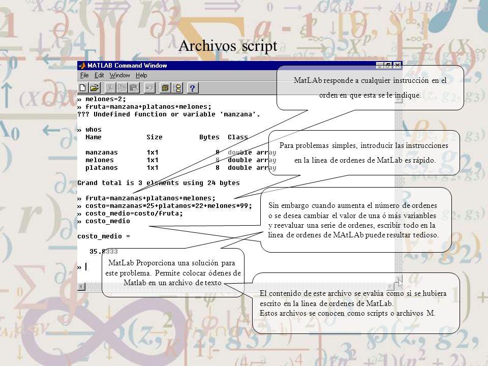 Archivos script MatLAb responde a cualquier instrucción en el