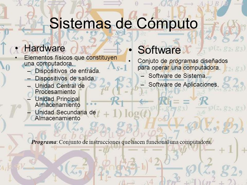 Sistemas de Cómputo Software Hardware