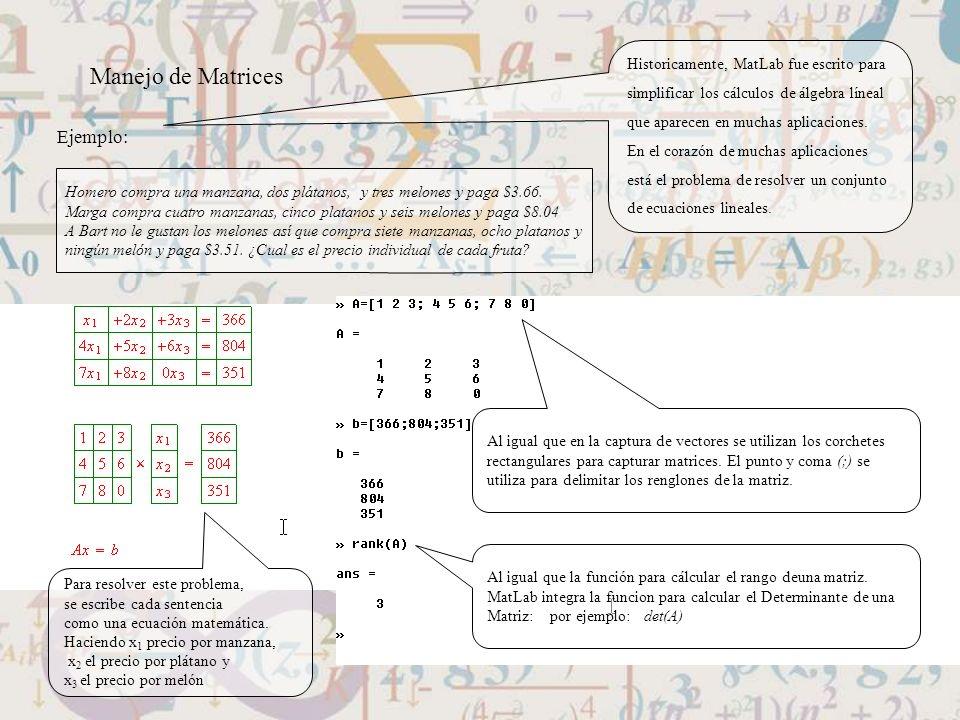 Manejo de Matrices Ejemplo: Historicamente, MatLab fue escrito para