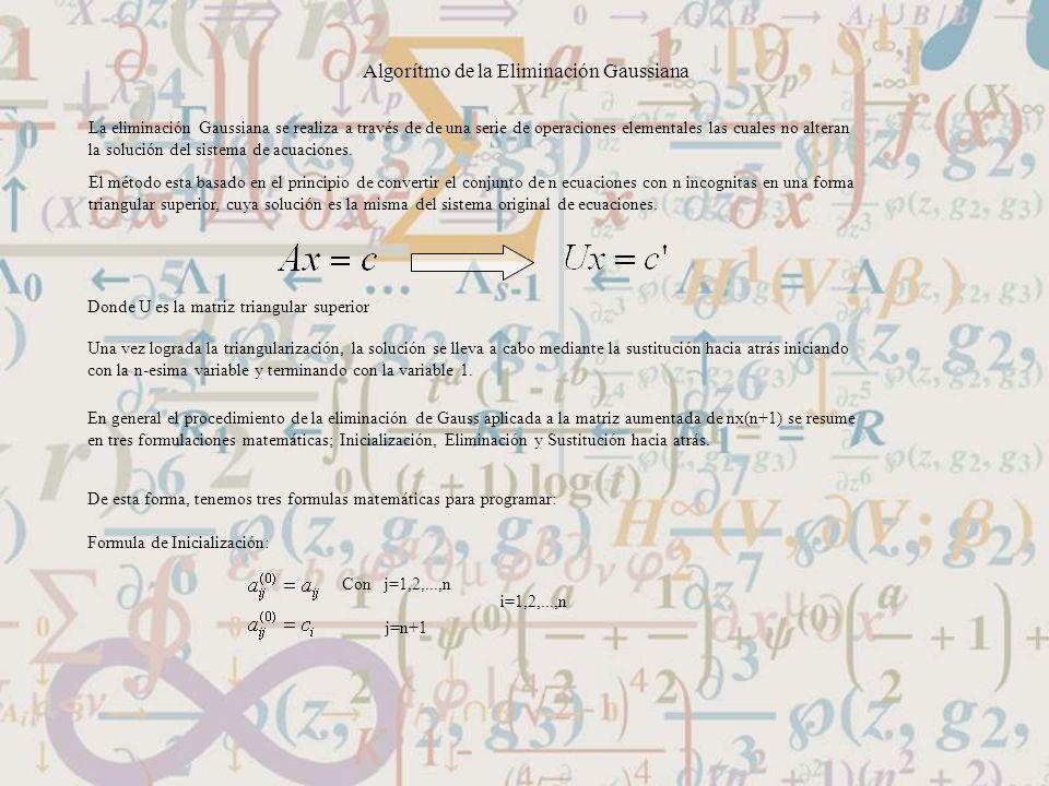 Algorítmo de la Eliminación Gaussiana