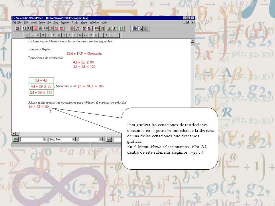 Para graficar las ecuaciones de restricciones