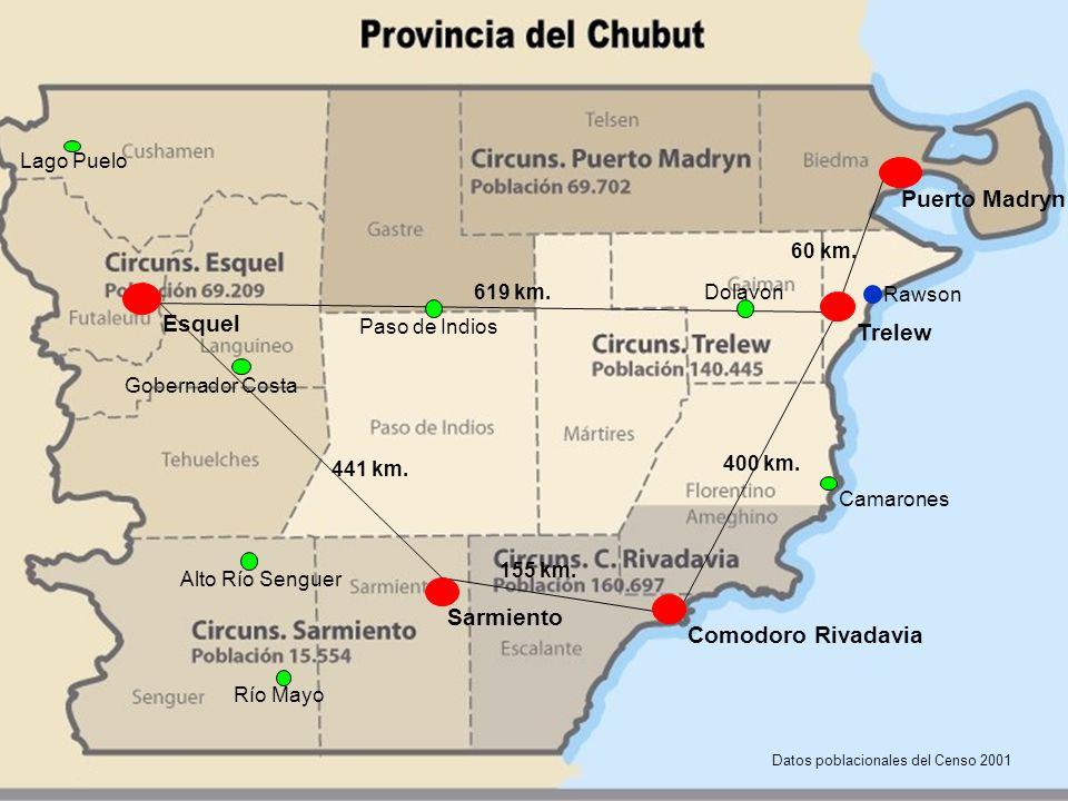 Mapa del Chubut: ubicación de las Oficinas de la Defensa Pública en el año 2012