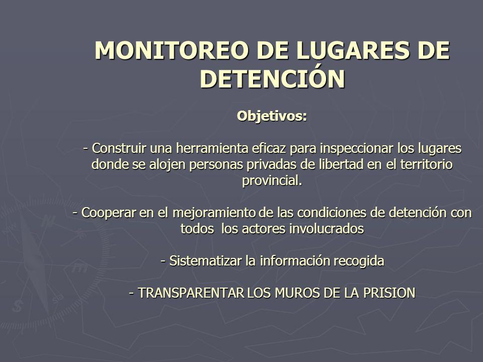 MONITOREO DE LUGARES DE DETENCIÓN Objetivos: