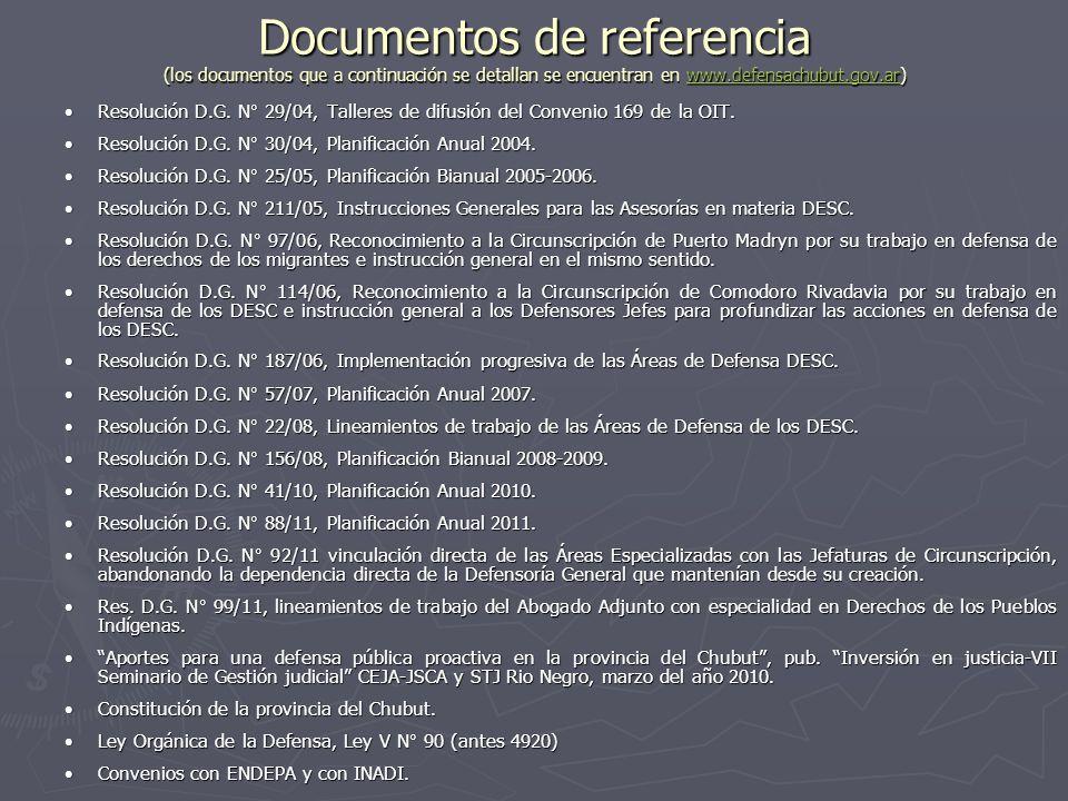 Documentos de referencia (los documentos que a continuación se detallan se encuentran en www.defensachubut.gov.ar)