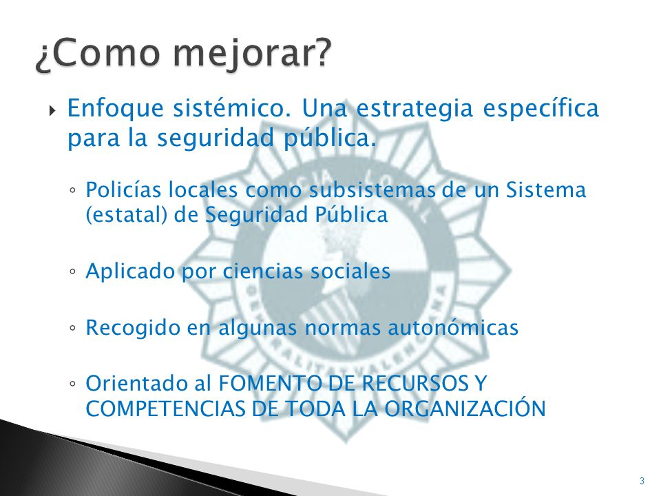 ¿Como mejorar Enfoque sistémico. Una estrategia específica para la seguridad pública.