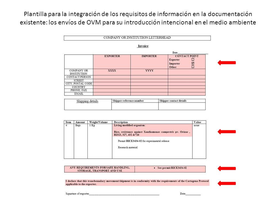 Plantilla para la integración de los requisitos de información en la documentación existente: los envíos de OVM para su introducción intencional en el medio ambiente