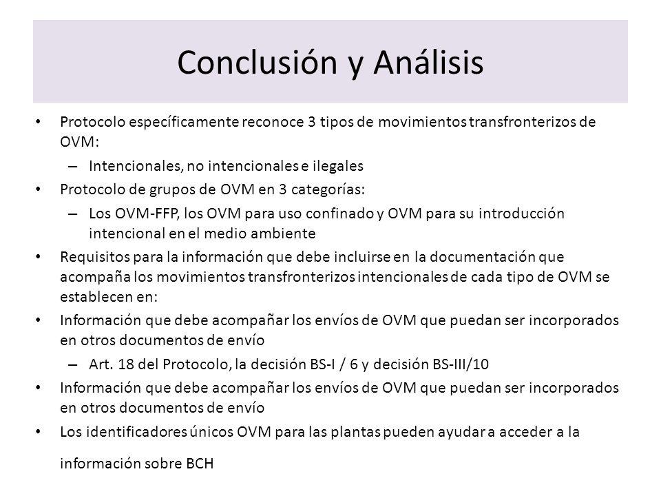 Conclusión y AnálisisProtocolo específicamente reconoce 3 tipos de movimientos transfronterizos de OVM: