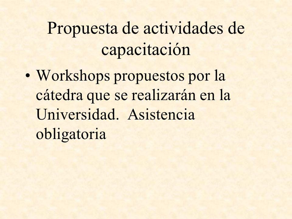 Propuesta de actividades de capacitación