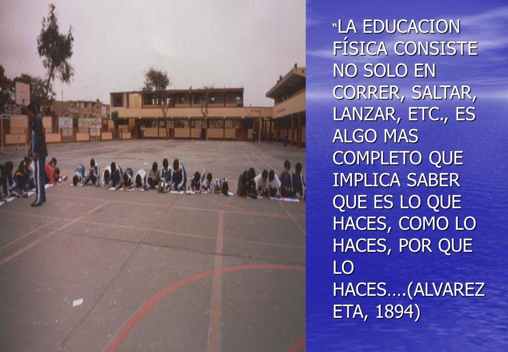 LA EDUCACION FÍSICA CONSISTE NO SOLO EN CORRER, SALTAR, LANZAR, ETC