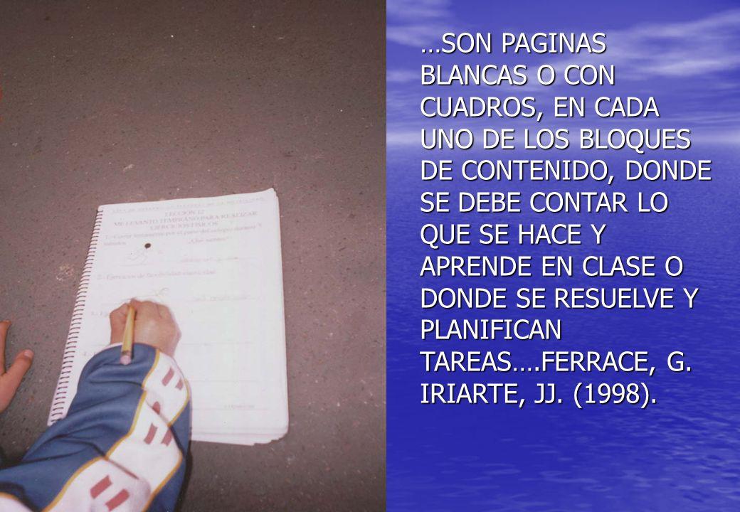 …SON PAGINAS BLANCAS O CON CUADROS, EN CADA UNO DE LOS BLOQUES DE CONTENIDO, DONDE SE DEBE CONTAR LO QUE SE HACE Y APRENDE EN CLASE O DONDE SE RESUELVE Y PLANIFICAN TAREAS….FERRACE, G.