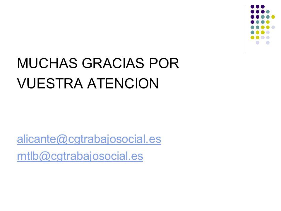 MUCHAS GRACIAS POR VUESTRA ATENCION alicante@cgtrabajosocial.es