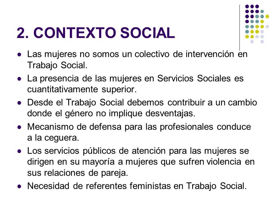 2. CONTEXTO SOCIAL Las mujeres no somos un colectivo de intervención en Trabajo Social.